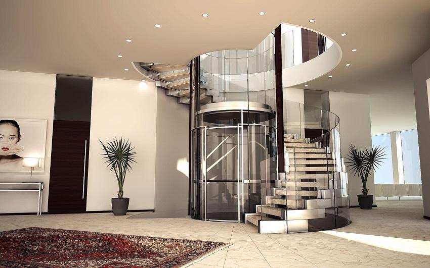 Kiểu nhà vừa thang máy và thang bộ tạo nên sự tiện nghi và hài hòa trong không gian