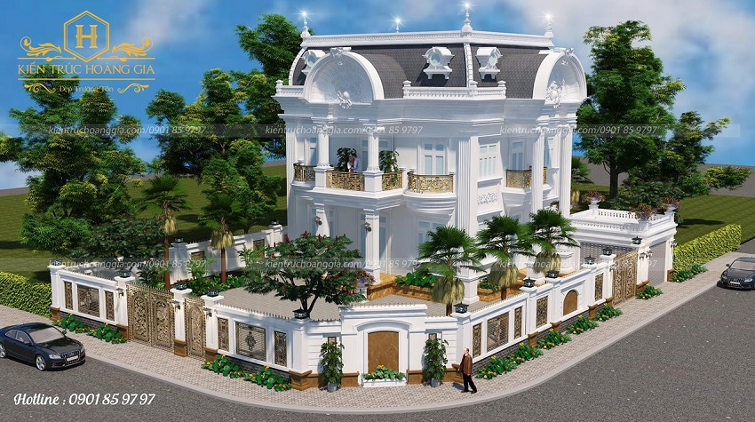 Mẫu nhà 2 mặt tiền 2 tầng tân cổ điển đẹp lộng lẫy
