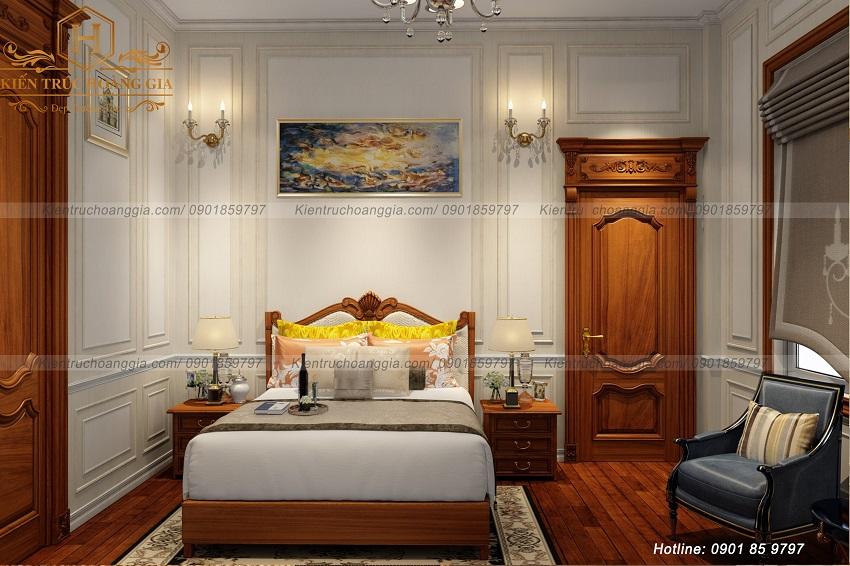 Mẫu phòng ngủ tân cổ điển đẹp lộng lẫy với chất liệu gỗ tự nhiên