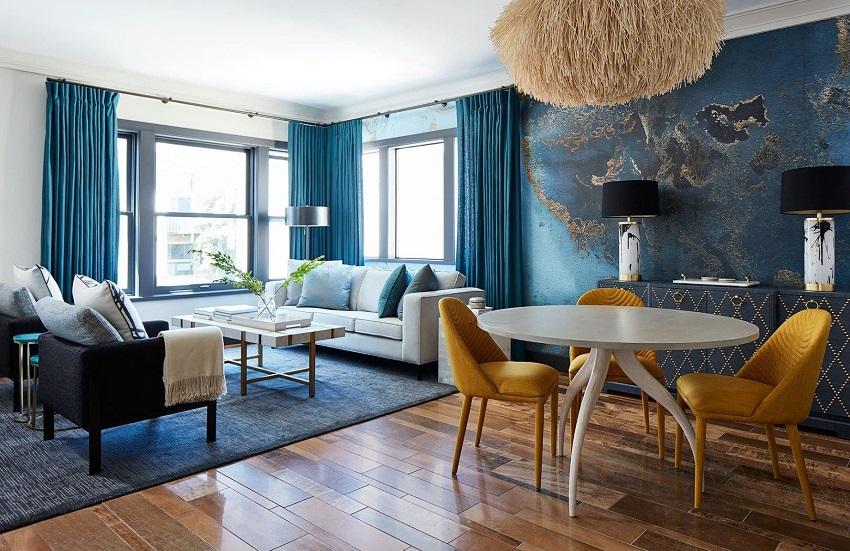 Màu xanh dương nhạt cho không gian nội thất thêm tươi mới