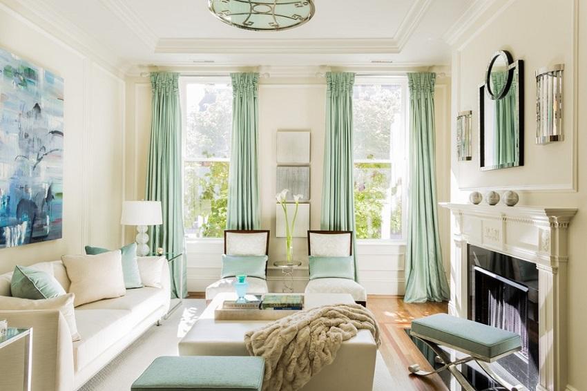 Màu xanh mint nhạt tô điểm không gian nội thất ngày hè