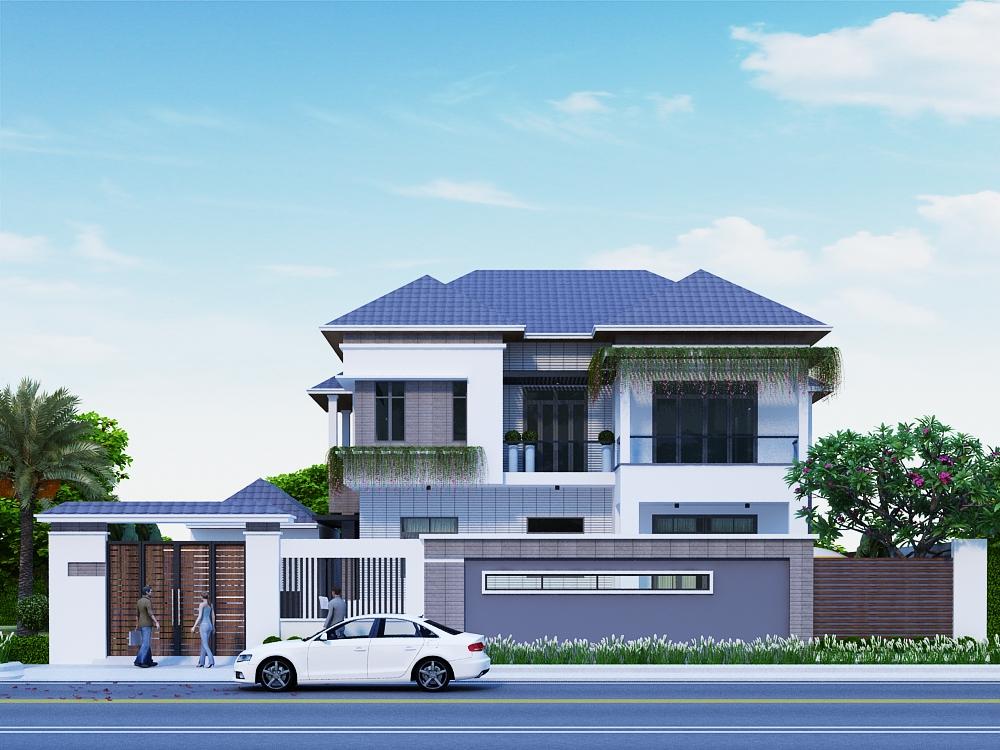 Biệt thự hiện đại 1 trệt 1 lầu tại Phước Long, Bình Phước