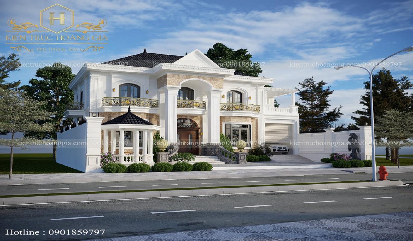 Biệt thự tân cổ điển 2 tầng mái ngói anh Chinh Bình Phước