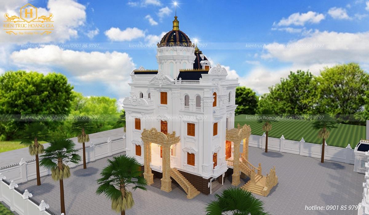 Thiết kế Dinh Thự 4 tầng chị Trang Bình Thuận