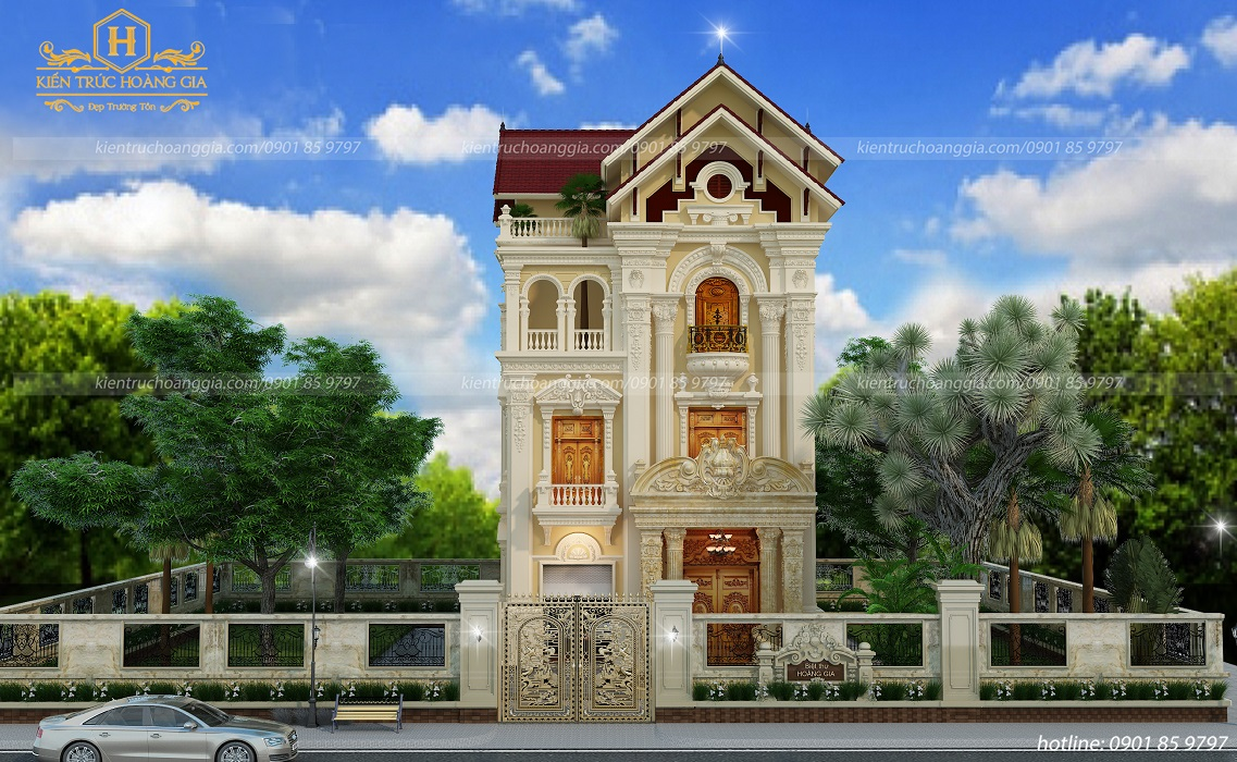 Biệt thự cổ điển 3 tầng mái Thái anh Tùng Đồng Nai