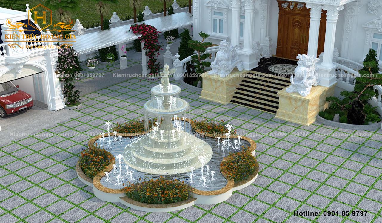 Sân vườn đẹp đẳng cấp của một dinh thự quy mô lớn